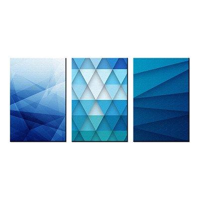 Trio de Telas Decorativa Azul Geometrico