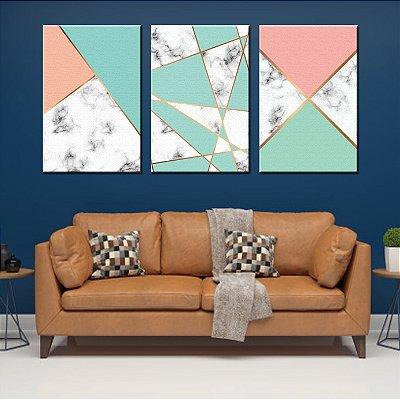 Trio de Telas Decorativa Geometrico Azul Claro
