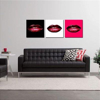 Conjunto 3 Telas Decorativas Beijos