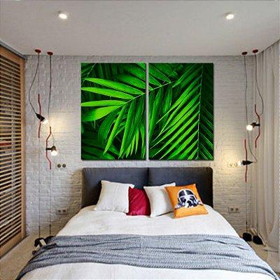 Dupla de Telas Decorativa Folhas de Palmeira