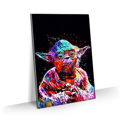 Quadro Star Wars - Mestre Yoda Estilizado Colorido