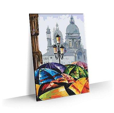 Quadro Pintura Paris Chuva Tela Decorativa