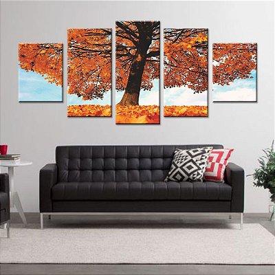 Conjunto 5 Quadros Tela Decorativa Arvore Outono
