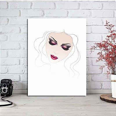 Placa Decorativa Mulher Maquiagem (AL) 30X40CM