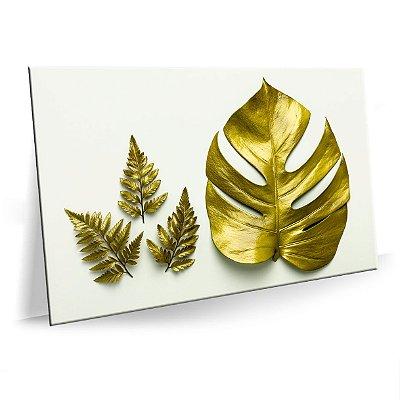 Quadro Herbal Dourado Tela Decorativa