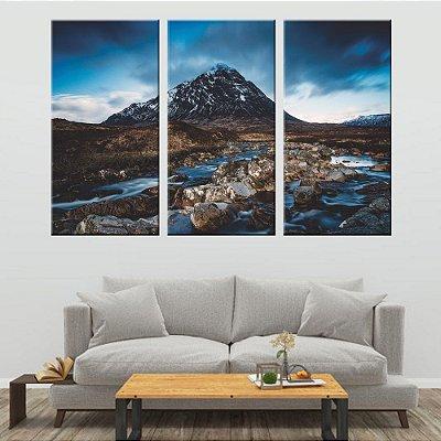 Conjunto 3 Tela Decorativa Montanha Glacial