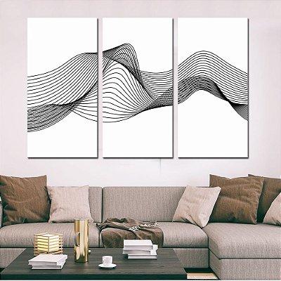 Conjunto 3 Tela Decorativa Black Lines