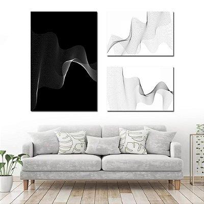 Conjunto com 3 Telas Lines Black Abstrato