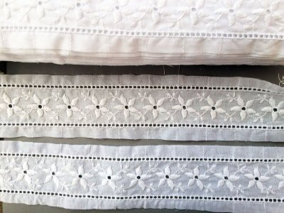 Entremeio 6,30 cm - 100% algodão branco | Peça com 14,40 m