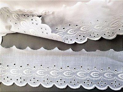 Tira Bordada 10,00 cm - 100% algodão branco | Peça com 14,40