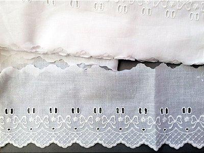 Passa-Fita largo 10,00 cm - 100% algodão branco | Peça com 7,20 m
