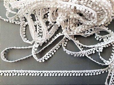 Renda Guipure 1,00 cm - 100% algodão branco | Peça com 14,40 m