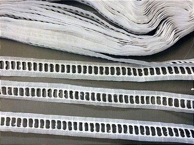 Entremeio ponto palito 2,60 cm - 100% algodão branco | Peça com 14,40m