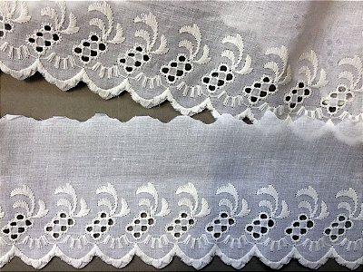 Tira Bordada 10,70 cm - 100% algodão branco | Peça com 14,40 m