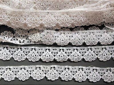 Renda Guipure 3,20 cm - 100% algodão branco | Peça com 7,20 m