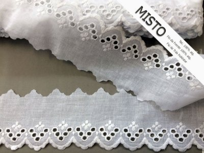 Tira Bordada 6,60 cm - MISTO - cerca de 92% algodão e 8% poliéster | Peça com 7,20m