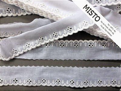 Tira Bordada 4,00 cm - MISTO - cerca de 92% algodão e 8%  poliéster | Peça com 7,20 m