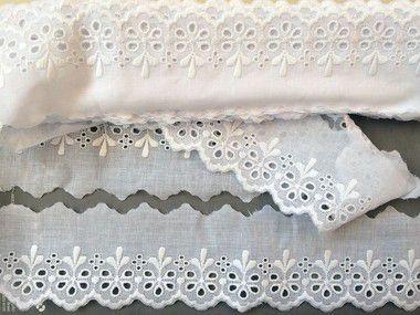 Tira Bordada 6,60 cm - 100% algodão branco | Peça com 7,20 m