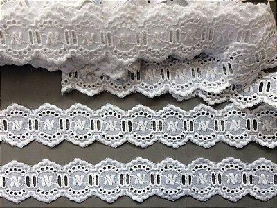 Passa Fita 3,60 cm - 100% algodão branco | Peça com 7,20m