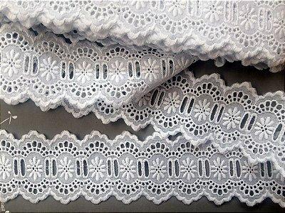 Passa-Fita largo 6,70 cm - 100% algodão branco | Peça com 7,20 m