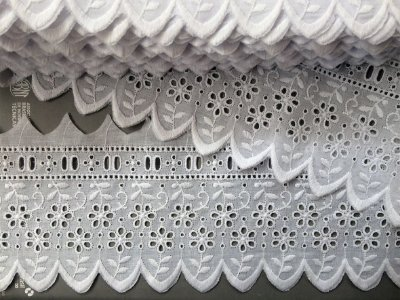 Tira Larga com Passa-Fita 11,90cm - 100% algodão branco | Peça com 14,40m