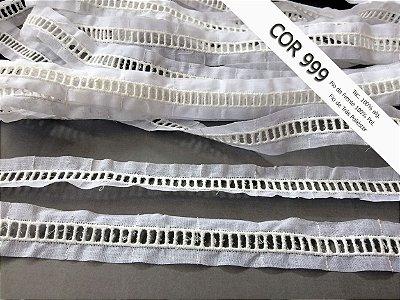 Entremeio ponto palito 2,20 cm - Misto 65% algodão 35% poliéster cor Off-White | Peça com 14,40 m