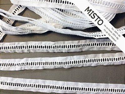 Entremeio ponto palito 2,20 cm - MISTO - 86% algodão 14% poliéster branco | Peça com 14,40 m