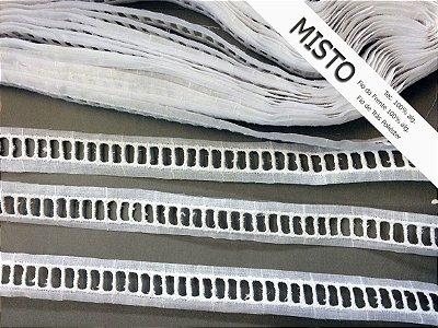 Entremeio ponto palito 2,60 cm - MISTO 92% algodão 8% poliéster branco | Peça com 7,20m
