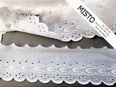 Tira Bordada 10,00 cm - MISTO 92% algodão 8% poliéster branco | Peça com 13,80m