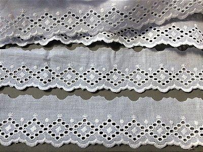 Tira Bordada 5,60 cm - 100% algodão branco | Peça com 14,40 m