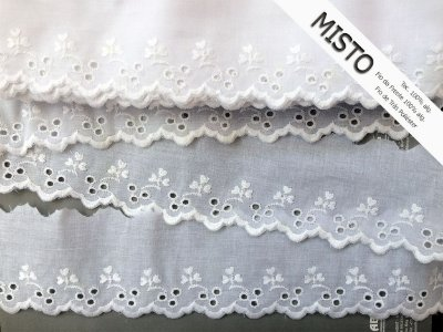 Tira Bordada 7,30 cm - MISTO 92% algodão 8% Poliéster branco | Peça com 7,20 m