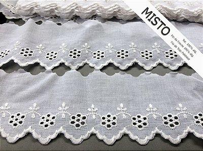 Tira Bordada 8,00 cm - MISTO cerca de 92% algodão e 8% poliéster | Peça com 7,20 m