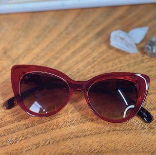 Óculos vermelho haste animal print