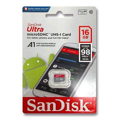 Cartão de Memória 16gb Ultra Micro SD Classe 10 Sandisk