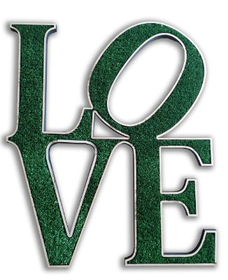 Letreiro Decorativo em relevo com textura de grama sintética - Love
