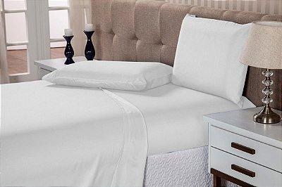 Lençol Casal Elástico Linha Profissional Hoteleira Branco