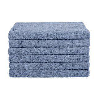 Kit 06 Toalhas de Piso Azul Pezinho Para Banheiro 65 x 45