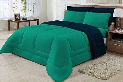 Edredom Casal Malha Algodão Dupla Face Verde E Azul Marinho