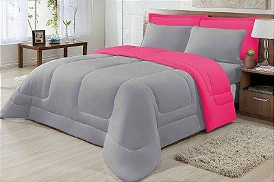 Edredom Casal Malha 100% Algodão Dupla Face Pink E Cinza
