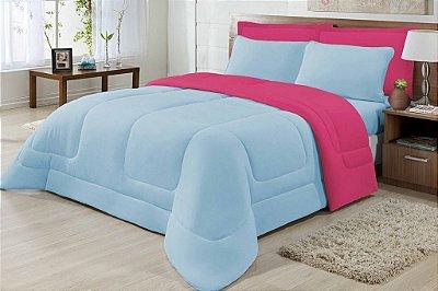 Edredom Casal Malha 100% Algodão Dupla Face Azul E Pink