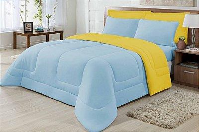 Edredom Casal Malha Algodão Dupla Face Amarelo E Azul Claro