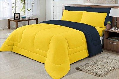Edredom Casal Malha Dupla Face Amarelo E Azul Marinho