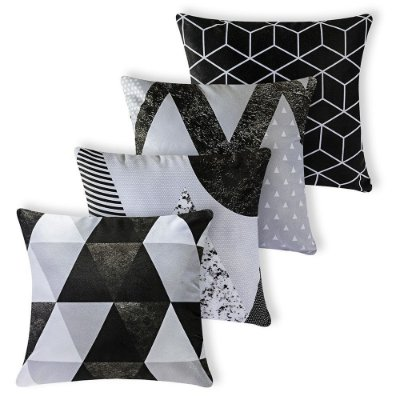 Kit 4 capas de Almofada Suede 40x40 Cinza Geométrica Velvet