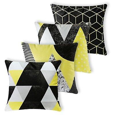 Kit 4 capas Almofada Suede 40x40 Amarela Geometrica Velvet
