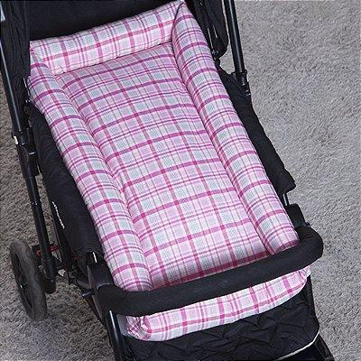 Ninho para Carrinho e Mini Berço Xadrez rosa