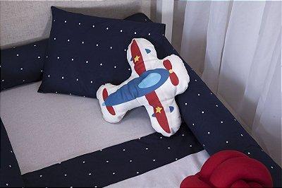 Kit de Mini Cama Montessoriano Poa Marinho Aviao 09 peças