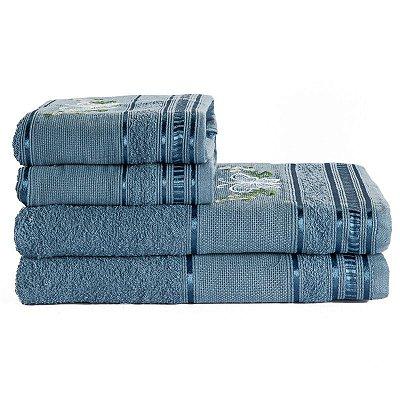 Jogo De Toalha De Banho 4 Peças Premium Bordada Azul Jeans