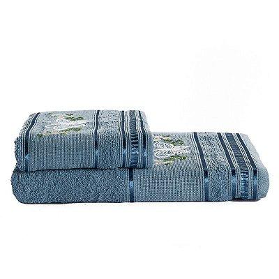 Jogo De Toalha De Banho 2 Peças Premium Bordada Azul Jeans