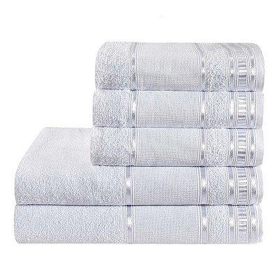 Jogo De Toalha De Banho 5 Peças Linha Premium Branco
