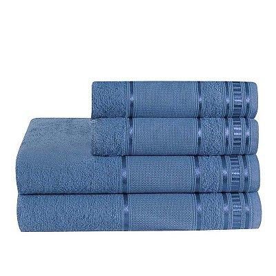 Jogo De Toalha De Banho 4 Peças Linha Premium Azul Jeans